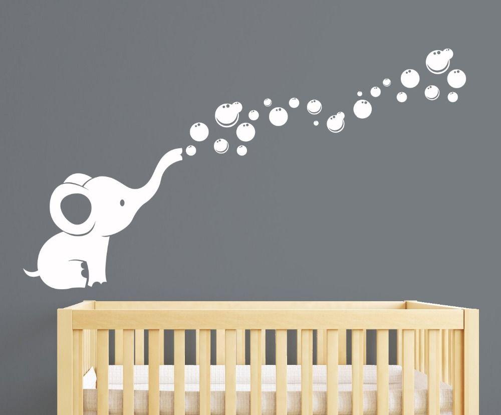 Éléphant bulles pépinière mur décalcomanie décor de chambre (blanc)