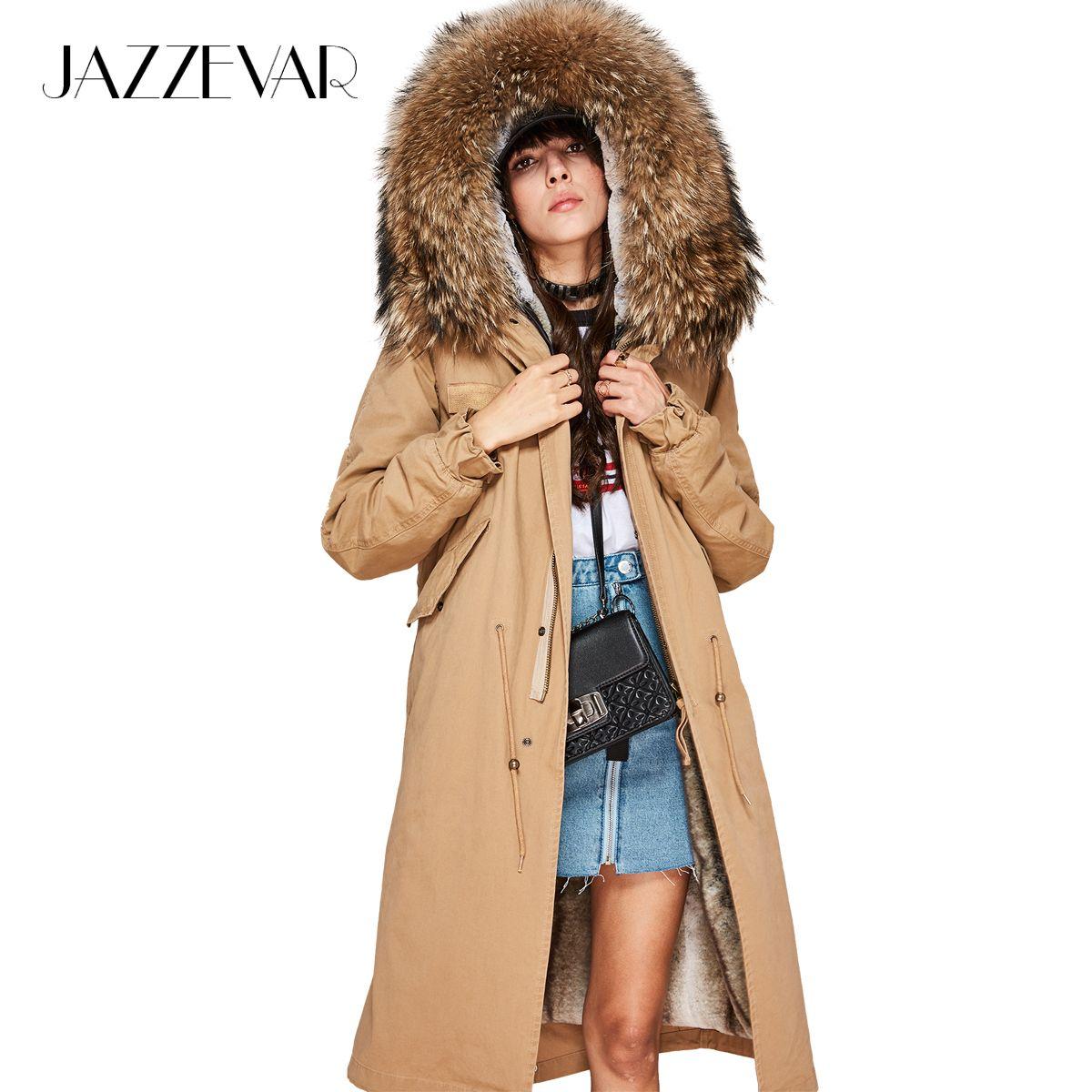 JAZZEVAR Neue high Fashion frauen X-Lange parka große echt waschbär fell Kapuze Mantel Outwear natürliche farbe Military winter Jacke