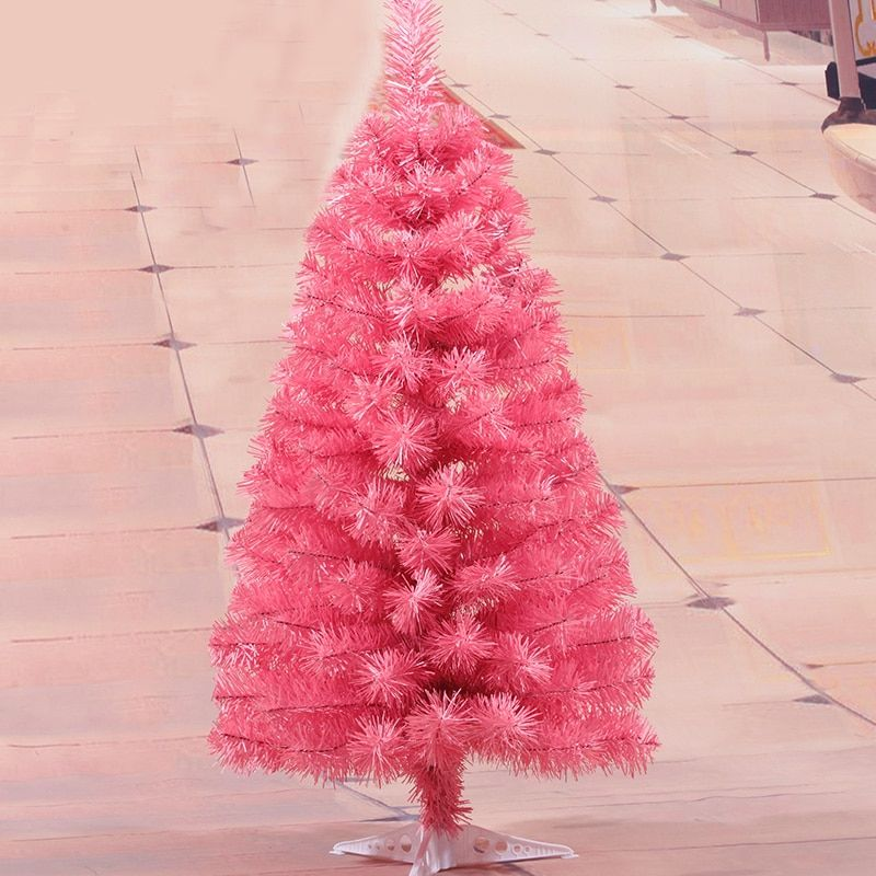 60cm Artificial Christmas Tree with Plastic Stand Holder Base Pink Color Artificial Tree New Year Gift Desk Ornaments Encryption