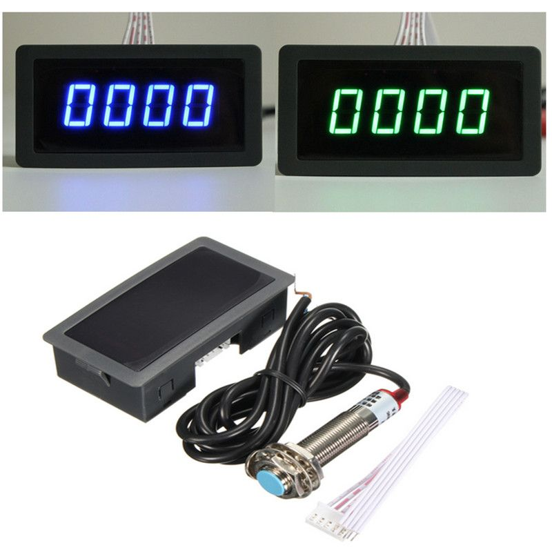 High Precision 4 Digital Blue&Green LED Tachometer RPM Measurement Tester Car Motor Speed Meter+Proximity Switch Sensor 12V