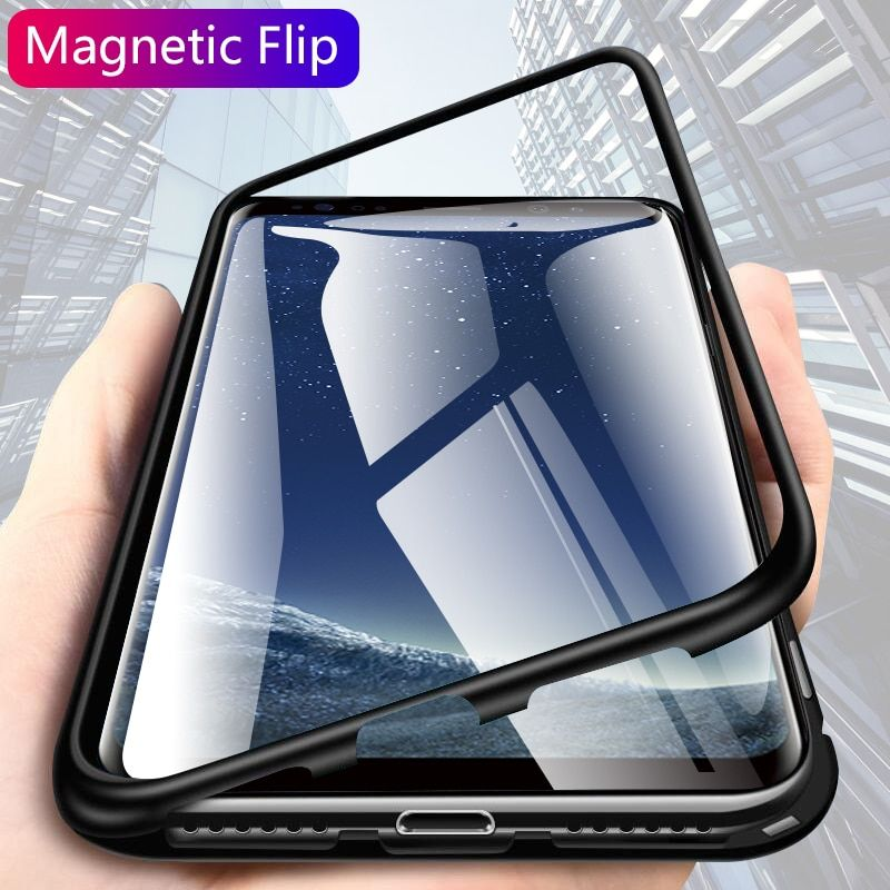 CHYI for samsung S10 plu s10e Built-in Magnetic Case Glass note 8 9 Magnet phone Cases for samsung Galaxy s8 s9 plus Back Cover