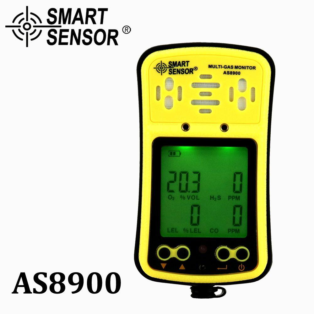 AS8900 Multi gaz moniteur détecteur de gaz portatif oxygène O2 Hydrothion H2S monoxyde de carbone CO gaz Combustible analyseur de gaz 4 en 1