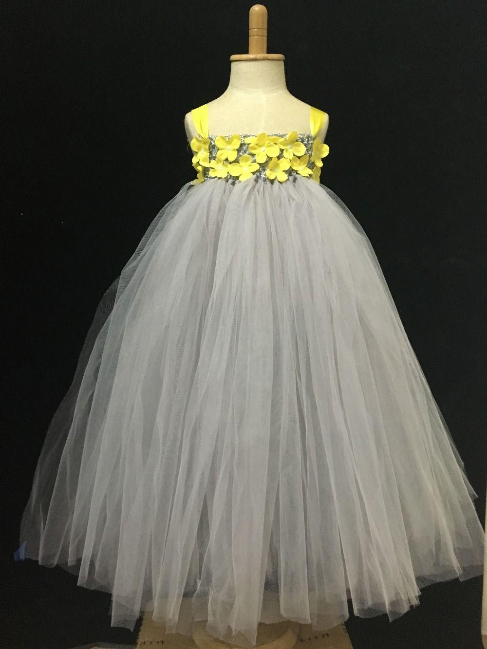 Petites filles gris longue Tutu robe enfants moelleux Tulle Tutus robe de bal avec fleur jaune et bandeau enfants robe de soirée de mariage