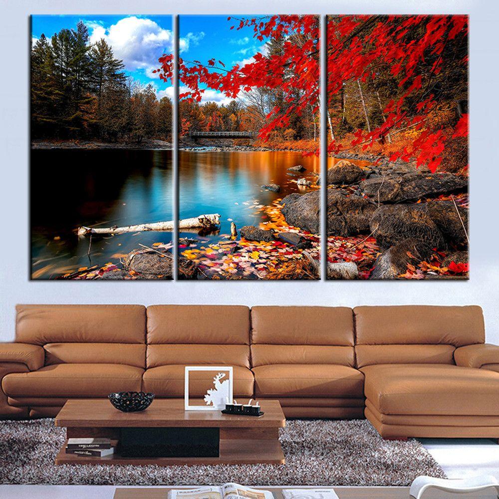 Toile peinture rouge lac arbre paysage Quadros décoration huile photo paysage mur Art photo pour salon pas de cadre 3 pièce