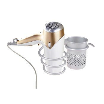 Aluminum Bathroom Wall Shelf Wall-mounted Hair Dryer Rack Storage Hairdryer Support Holder Silver Spiral Stand with  Storage Cup