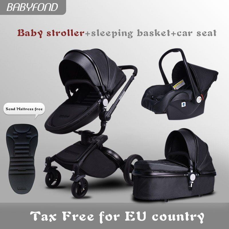 Free ship!Babyfond Brand 3 in 1 baby stroller aluminium alloy baby pram leather two-way shock baby trolley 2 in 1 Stroller