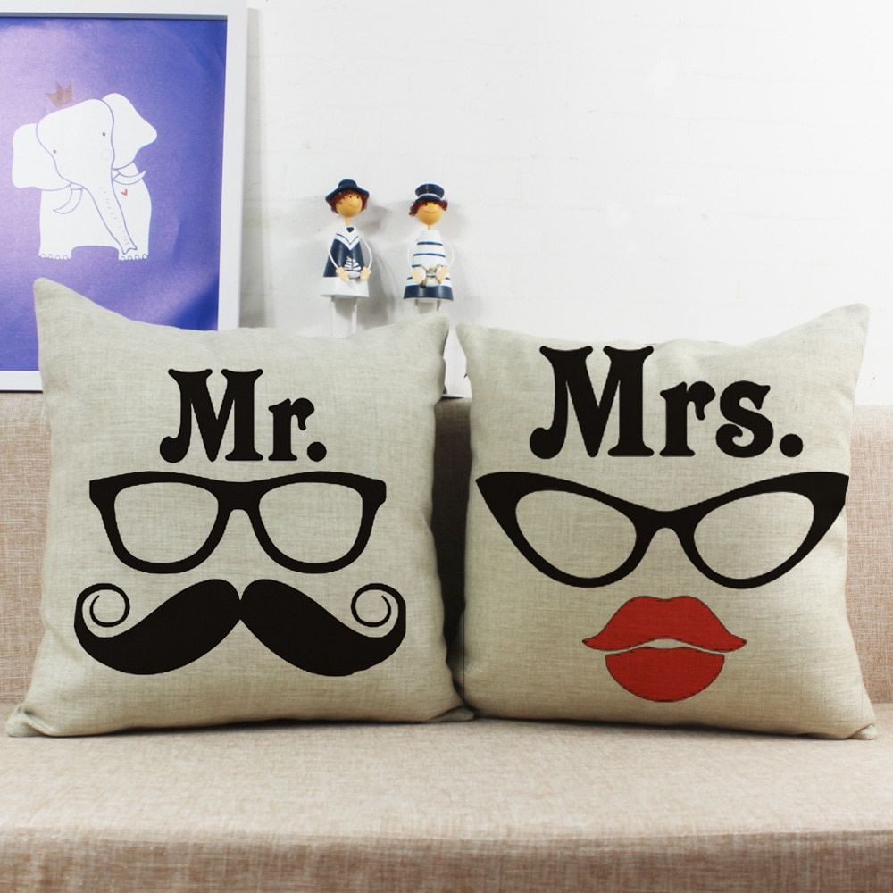 Maiyubo Beautiful Glass Mr. & Mrs. Home Decorative Cotton Linen Pillow Case Printed Husband and Wife Couple Cushion Cover PC269