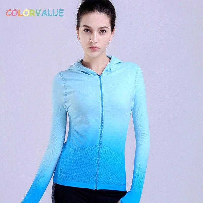 Colorvalue Gradient Color Running Jackets Women Anti-sweat Hooded Yoga Fitness Jacket Slim Zipper Sport Jacket with Thumb Holes