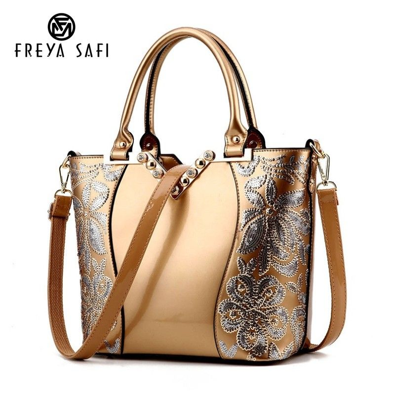 Luxury Sequin Embroidery Women Bag Patent Leather Handbag Diamond Shoulder <font><b>Messenger</b></font> Bags Famous Brand Designer 2018 Freya Safi