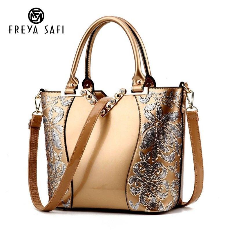 Luxury Sequin Embroidery Women Bag Patent Leather Handbag Diamond Shoulder Messenger Bags Famous Brand Designer 2018 Freya Safi
