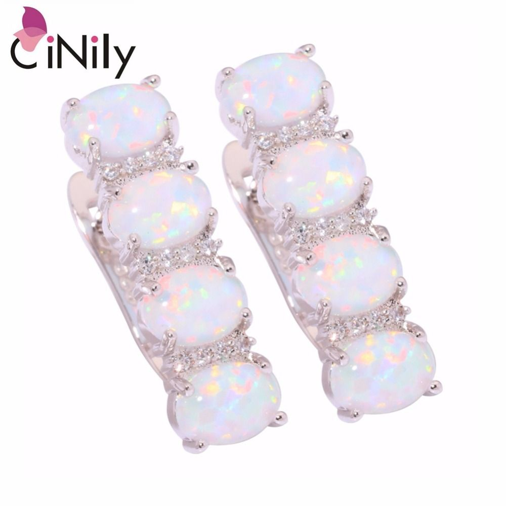 CiNily Created White Blue Fire Opal Cubic Zirconia Silver Plated Wholesale Hot for Women Jewelry Clip Earrings 7/8