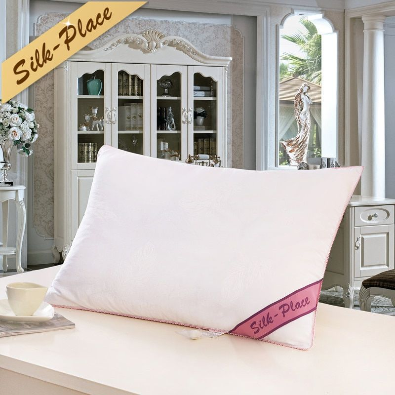 SILK PLACE Bedding Silk Pillow Top Quality Brand Design White Neck Health Care Pillow 100% Cotton Allow To Breathe Travel Pillow