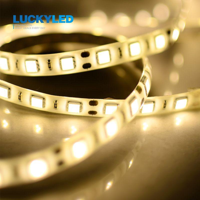 LUCKY LED LED bande étanche IP45 3528 5050 SMD 60 LED/M DC12V Flexible lumière LED blanc chaud blanc vert rouge bleu jaune 5 m/roll