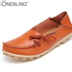 Plus Ukuran 35-44 Kulit Asli Sepatu Wanita 2017 Musim Semi Mode Lembut Lace-up Kasual Sepatu Datar Peas Non-slip Luar Sepatu