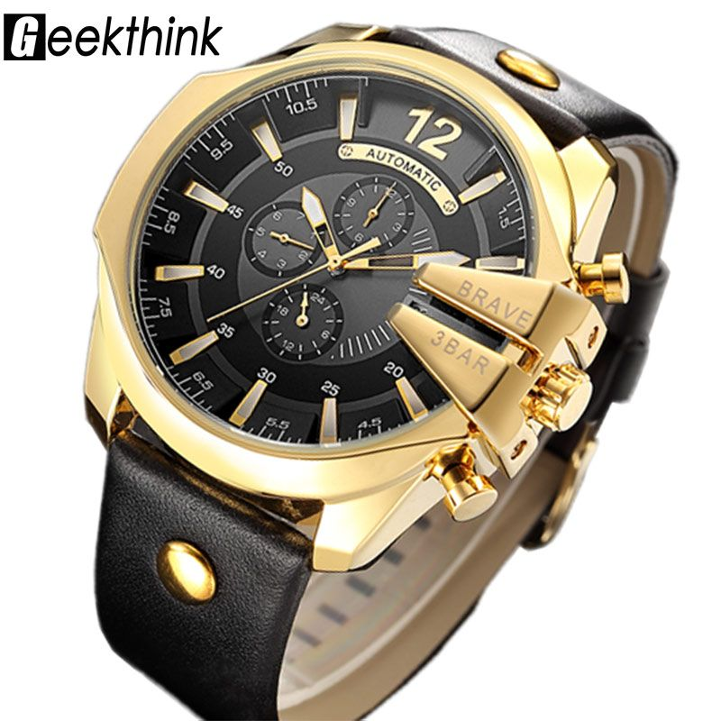 GEEKTHINK Top Luxury Brand Automatic Mechanical Watch Men's Sports Self wind Wrist watch Leather strap Fashion Clock Male New
