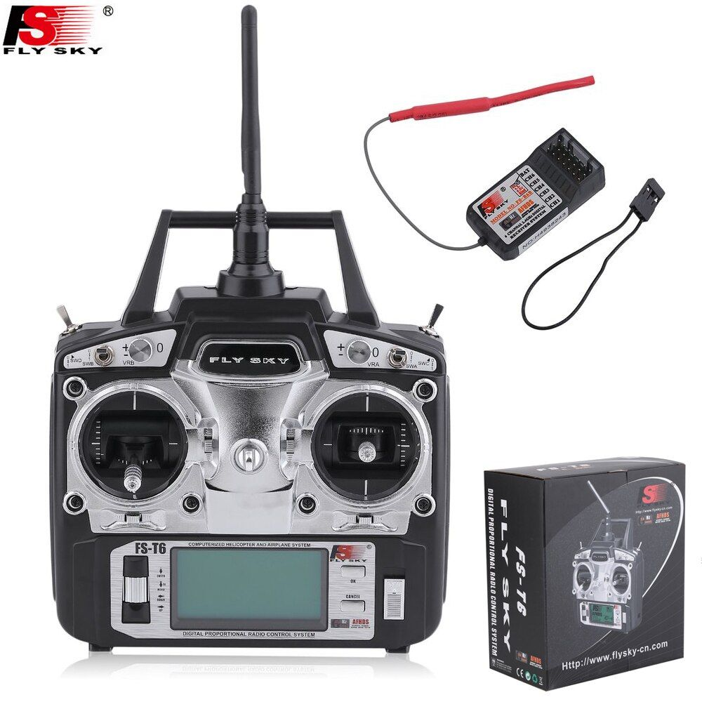 Flysky FS-T6 FS T6 6ch 2.4g w/ LCD Screen Transmitter + FS R6B Receiver RC Quadcopter Helicopter With LED Screen