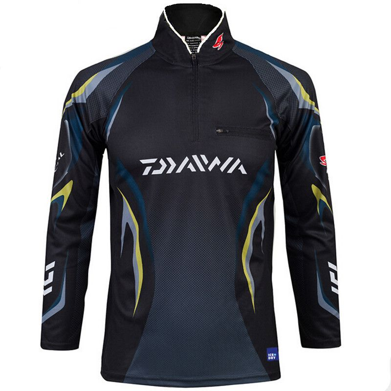 2 Colors New Style Daiwa Men Fishing Clothes UV Protection Moisture Wicking Quick-drying Breathable Fishing Shirt