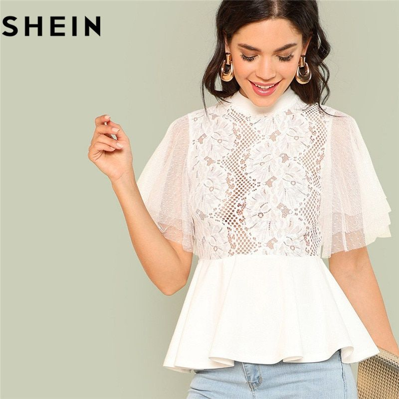 SHEIN 2018 <font><b>Elegant</b></font> White Women Sheer Blouse Stand Collar Short Sleeve Weekend Work Casual Mock Neck Smock Solid Lace Summer Tops