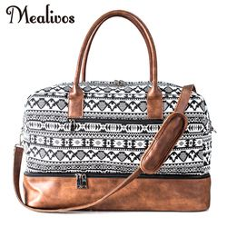 Mealivos 2017 Fashion Canvas Large Weekend Bag Overnight Travel Carry On Duffel with Shoe Pouch Duffel  weekender Bags