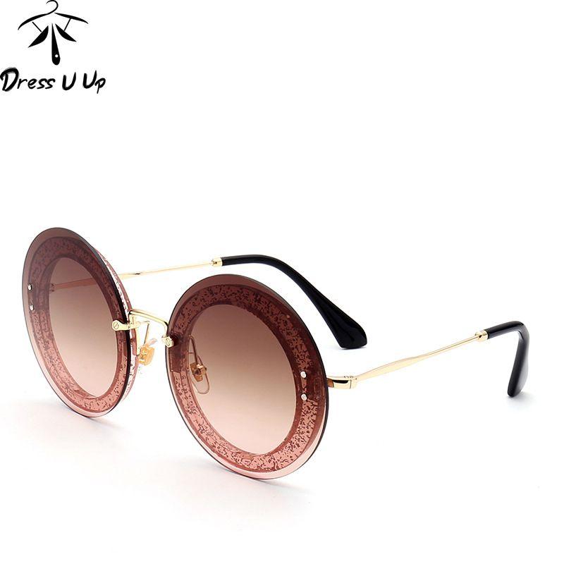 DRESSUUP Date De Mode Ronde lunettes de Soleil Femmes Marque Designer Vintage Gradient Shades Lunettes de Soleil Oculos De Sol Feminino Lentes