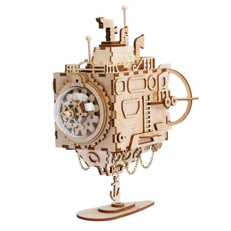Robotime 5 Kinds 3D Steampunk Puzzle DIY Movement Assembled Wooden Model Toys for Children Adult Brain Training Music Box AM680