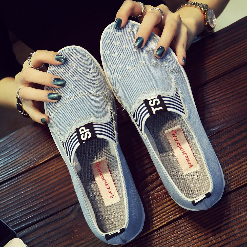 Haute qualité femmes Jeans chaussures appartements décontracté Denim chaussures semelles souples étudiants toile chaussures respirant Orientpostmark