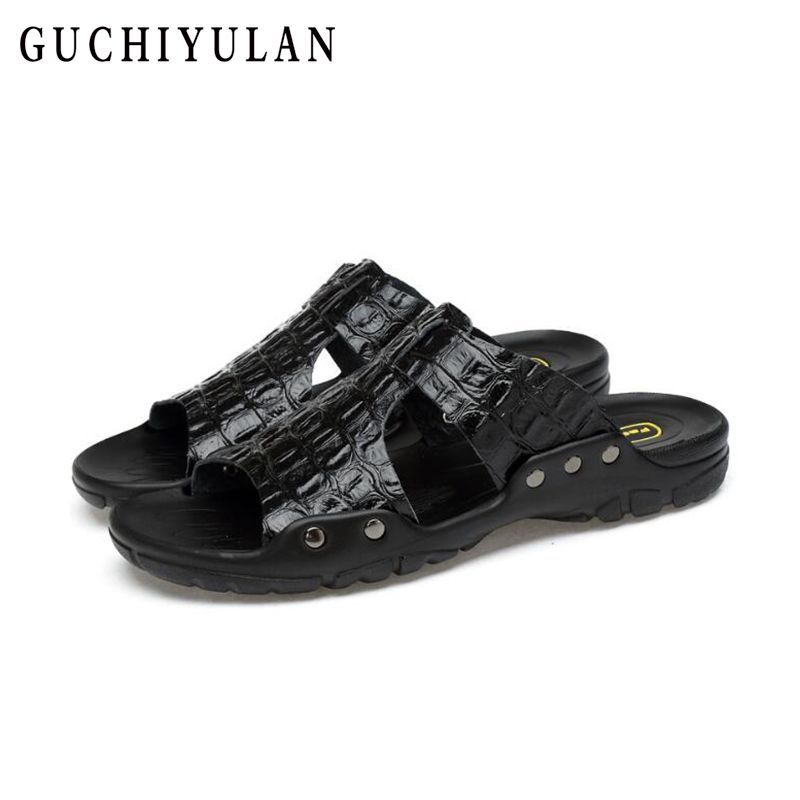 large size 38-46 Summer Cowhide Leather Slippers Men High Quality Comfortable Casual Shoes for Men Beach Sandals Water Slippers