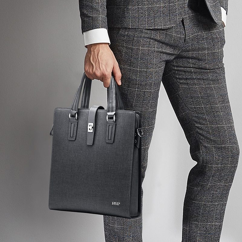 High Quality BVP Brand Genuine Leather Business Men Briefcase With Shoulde Strap Cow Leather Gray Male Vertical Briefcase J50