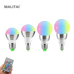 E27 E14 LED RGB lamp Bulb AC110V 220 V 5 W 7 W LED RGB Spot light Pode Ser Escurecido Feriado Novidade luzes RGB + IR Controle Remoto 16 cores