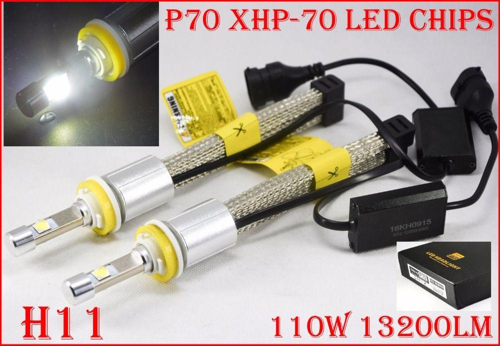 1 Set H8 H9 H11 H16(JP) 110W 13200LM P70 LED Headlight XHP-70 4LED Chip Super Bright Slim Conversion Kit Driving Fog 5000K 6000K