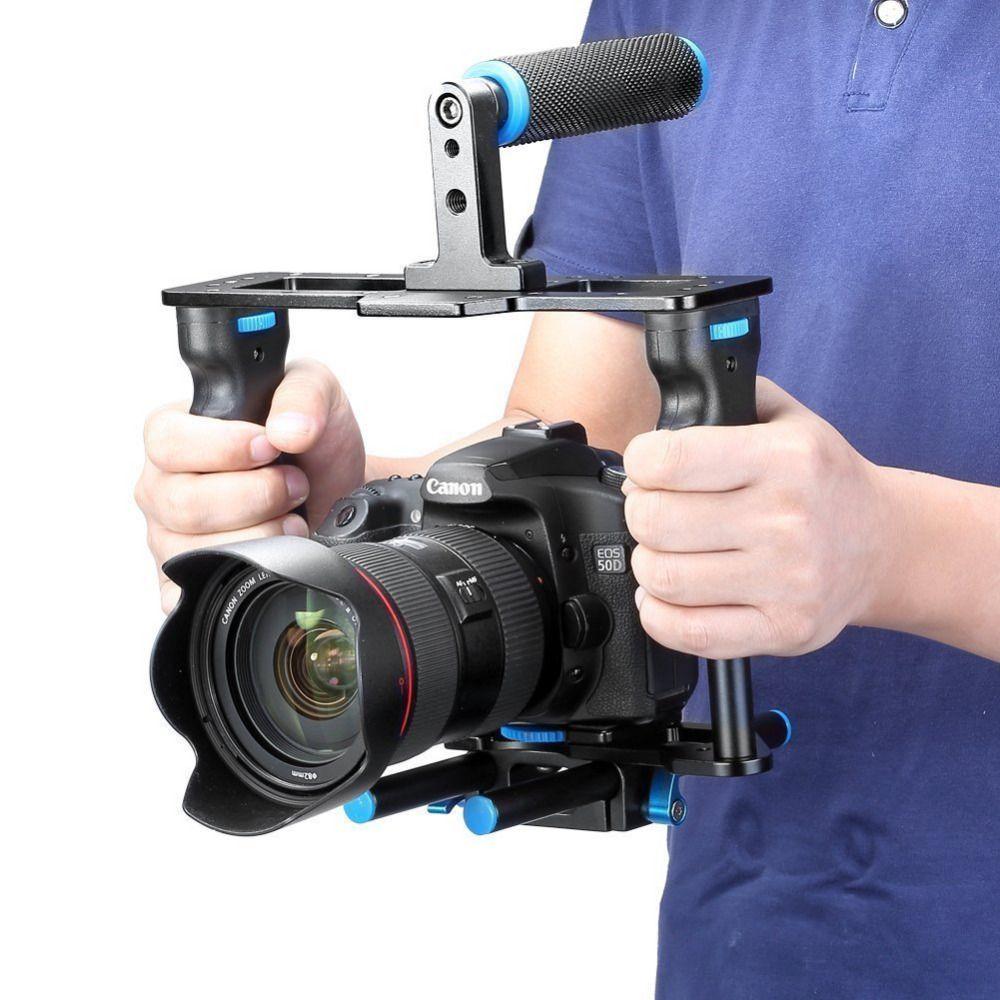 Neewer Kit de fabrication de films vidéo en alliage d'aluminium pour caméra: Cage vidéo + poignée + tige pour Canon5D/700D/650D/Nikon/Sony DSLR