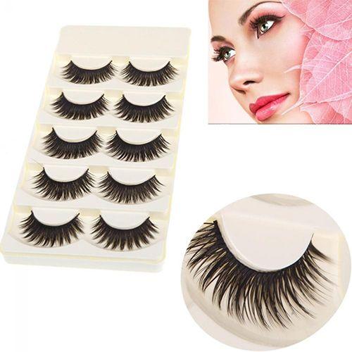 New Arrival 5 Pairs Black Long Thick False Eyelashes Handmade Extension Makeup Fake Lashes