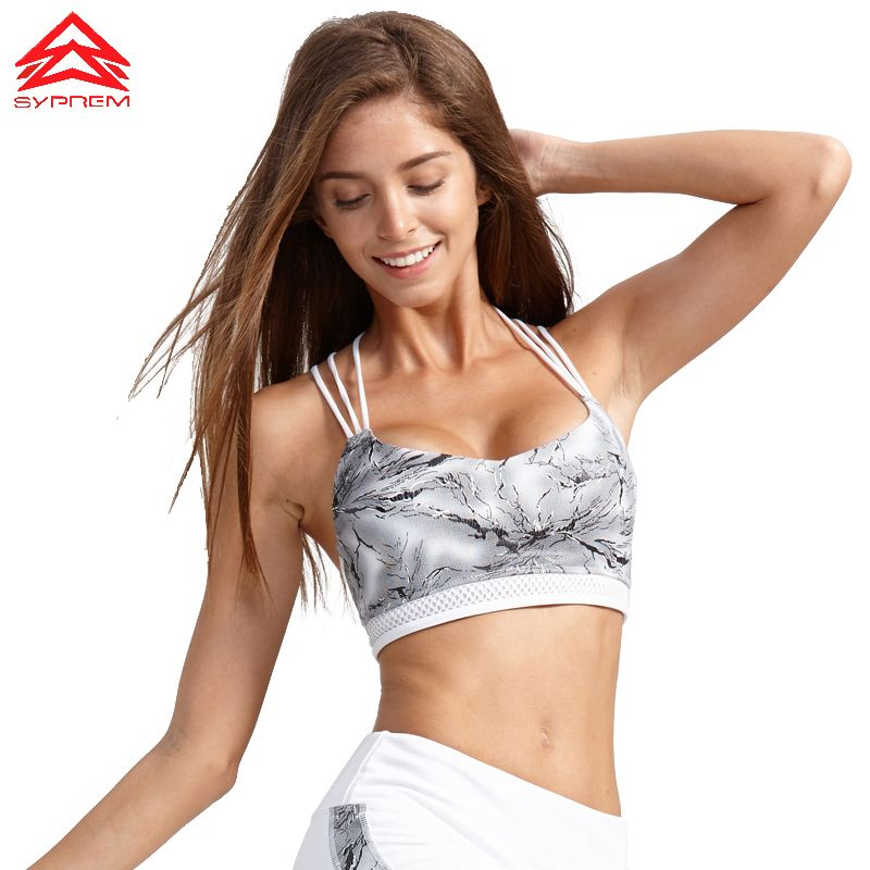 Syprem Sports Bra Fitness bra Women Rock Texture Printing Fitness Bra Crossed straps Shockproof Padded Running yoga Bra 1FT0024