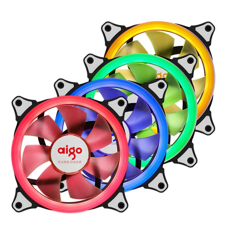 Aigo Case Cooling Fan 120mm Ring LED Fan 3pin/4pin Computer Water Cooler Fan Case Radiator Fan 12cm