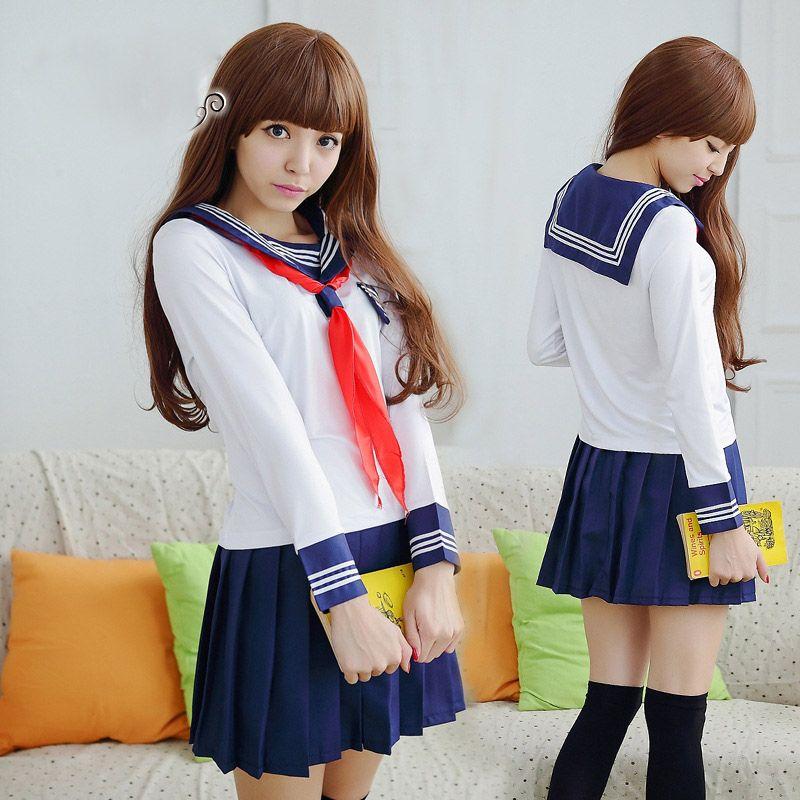 Niñas Uniformes Escolares Japoneses por JK Marinero de manga larga T Camisa estilo Preppy Escuela Sexy Traje de Falda Femenina Cosplay traje