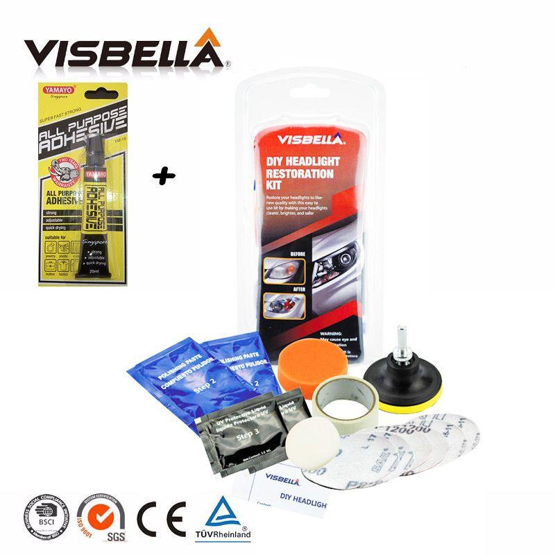 Visbella fix neblig und bewölkten scheinwerfer lampe objektiv reinigung für motorrad scheinwerfer restaurierung DIY kit polnischen