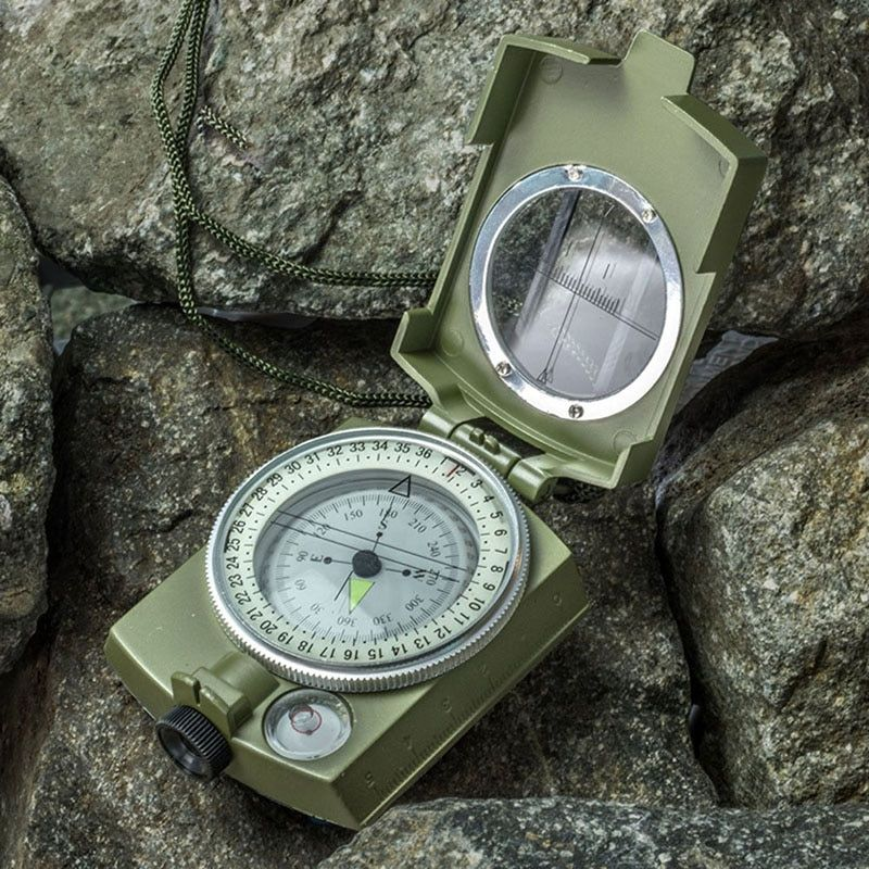 Military Army Metal Prismatic Sighting Compass High Accuracy Waterproof Compass with Pouch Outdoor Hiking Camping Climbing