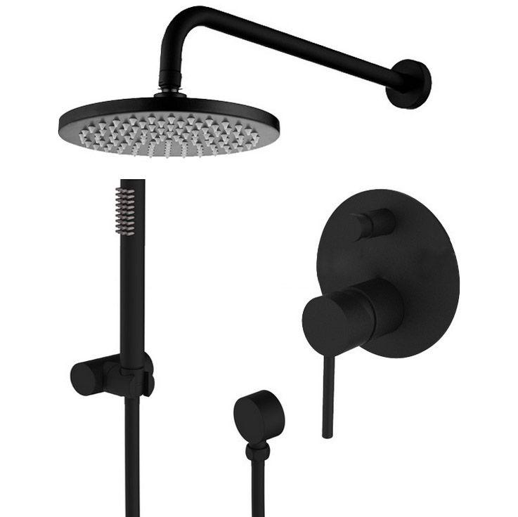 Brass Black Shower Set Bathroom Faucet Wall Shower Arm Diverter Mixer Handheld Spray Set With 8