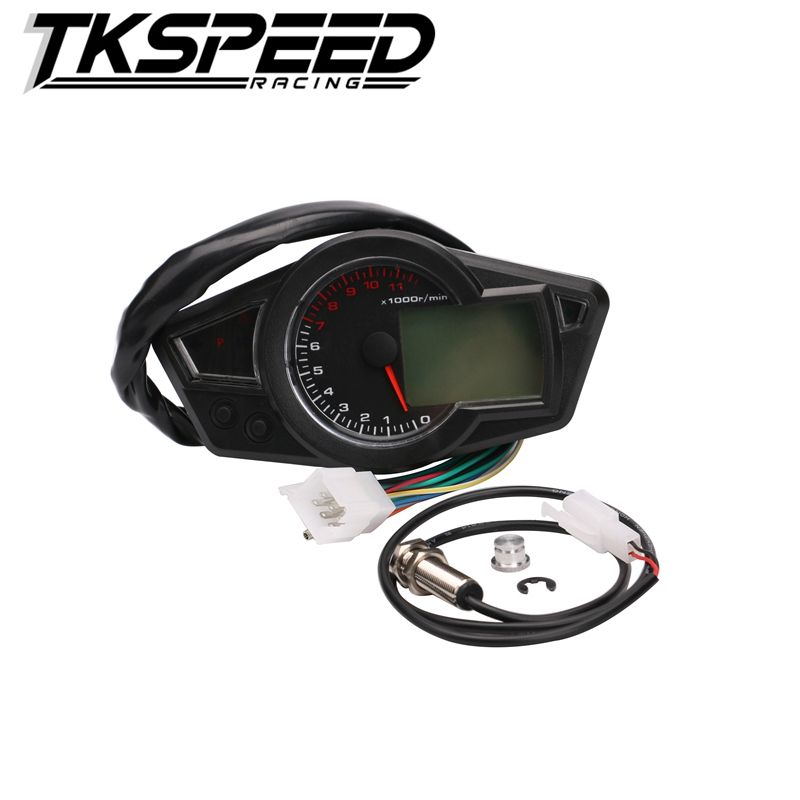 Motorcycle LCD Speedometer Motorcycle Digital Odometer Speedometer Tachometer Fit for 2&4 Cylinders