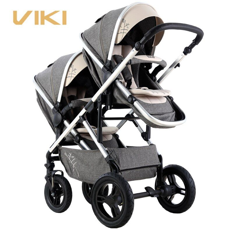 VIKI Multi-function Baby Stroller for Twins, Two-way Twins Stroller, Pushchair for 2 Kids, Bidirectional, Can Sit & Lie Down