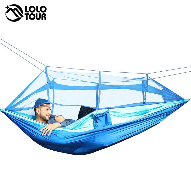 Outdoor Camping Parachute Hammock Mosquito Net Flyknit Double <font><b>Leisure</b></font> Sleeping Hanging Chair Tent Travel Survival Army Green