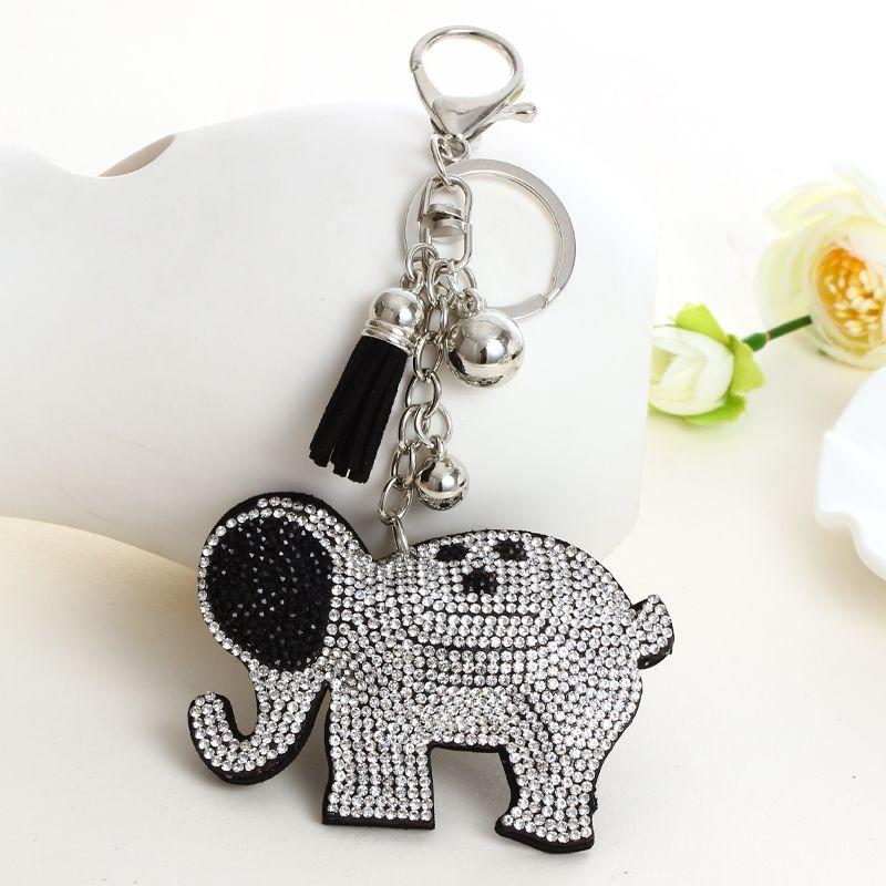 2019 silber gute qualität großhandel neue mode charme schlüssel kette anhänger strass Elefanten leder keychain zubehör