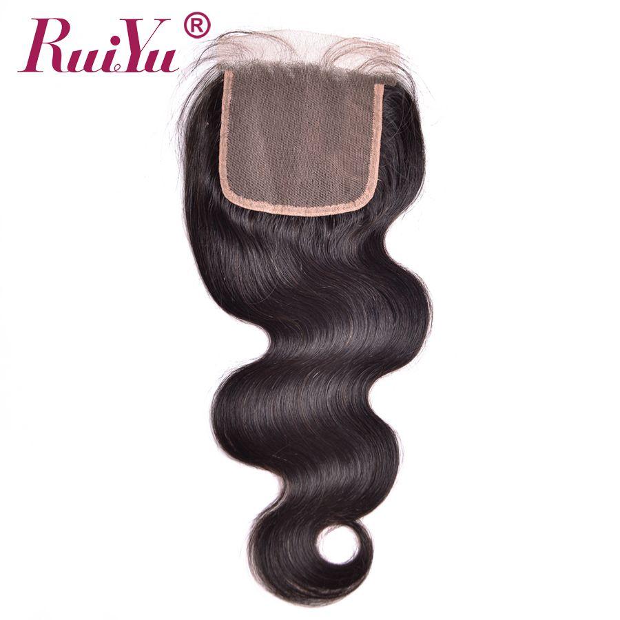 Ruiyu волос бразильский Средства ухода за кожей волна волос Синтетическое закрытие шнурка волос 4