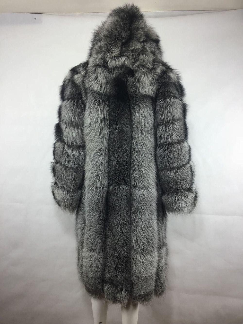 MLHXFUR 100 cm Lange Silber Fuchs Pelzmantel Kapuze Hoodie Mit Kapuze Mäntel für Frauen Mantel Outwear Parka Garment Plus Mantel topcoat