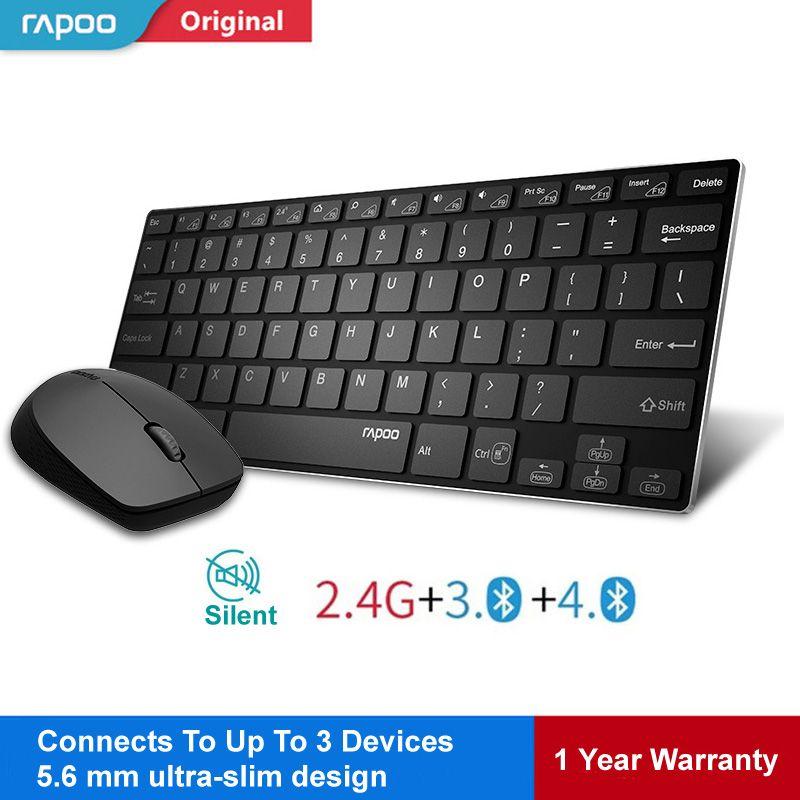 Commutateur de clavier sans fil multimode Rapoo entre Bluetooth et 2.4G Connect 3 appareils souris optique à clavier silencieux pour tablette