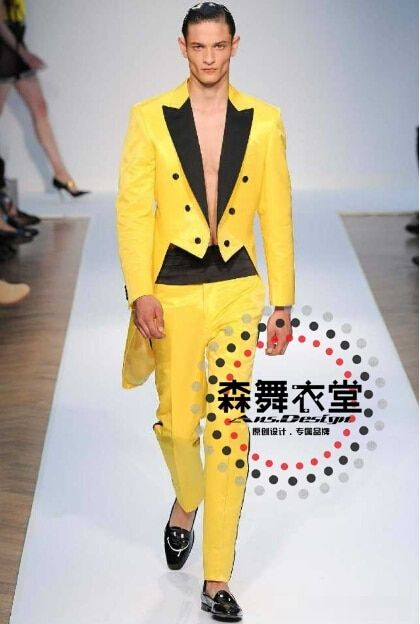 S-5XL! 2018 Bar singer DJ GD costumes court Europe America retro men's slim suits bright yellow swallowtail formal dress VSTINUS