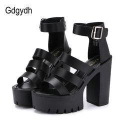 Gdgydh 2018 nuevo verano Zapatos mujeres blanco punta abierta cinturón botón talón grueso plataforma cuñas Zapatos moda casual Sandalias femenino