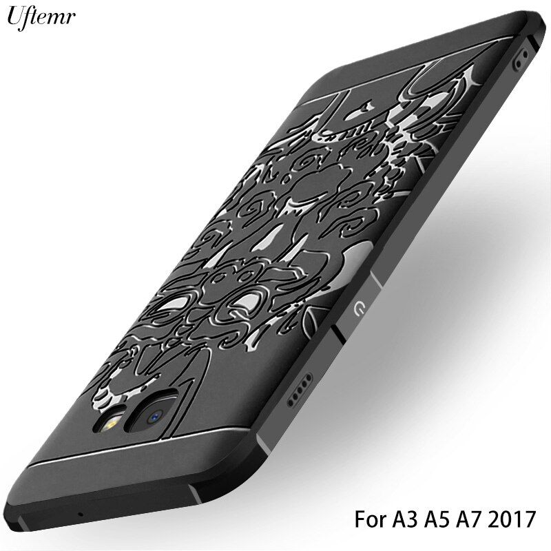 Uftemr Case For Samsung Galaxy A5 2017 A7 2017 Luxury 3D Silicon Scrub Rubber Back Phone Cover For Samsung A5 2017 Case A520 A3