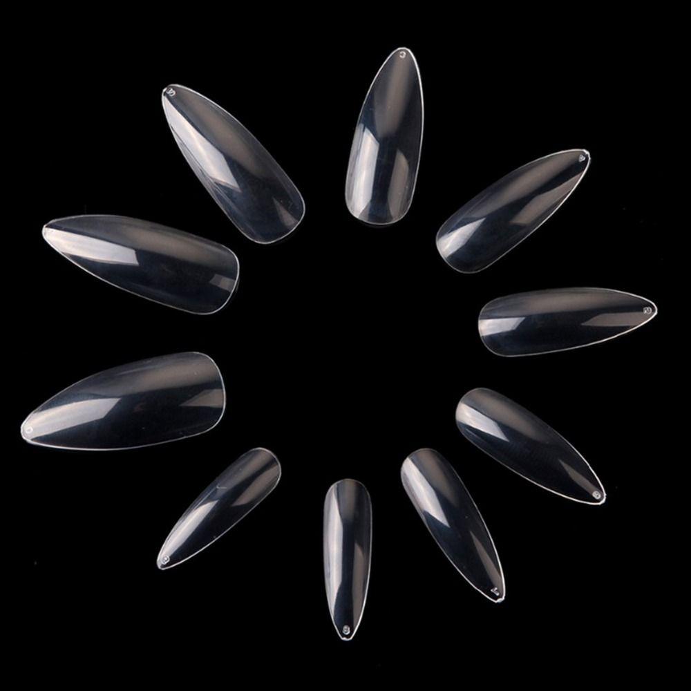 Makartt Longue Aiguille 500 pièces Nail Art Conseils Clair/Naturel bout Pointu Faux Faux Ongles Conseils Manucure Ongles Artificiels Salon A0493