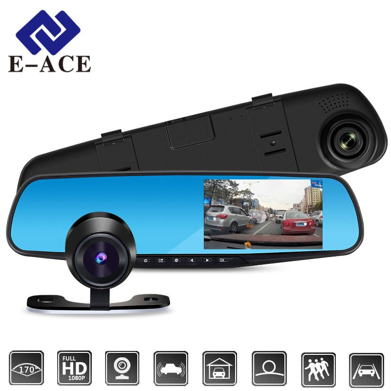 E-ACE Car Dvr FHD 1080P Dash Camera 4.3 Inch Rearview Mirror DVRs With RearView Camera Video Recorder Camcorder Auto <font><b>Registrar</b></font>